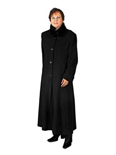 NEW Linda Richards Merino Coat with Sheared Beaver Collar
