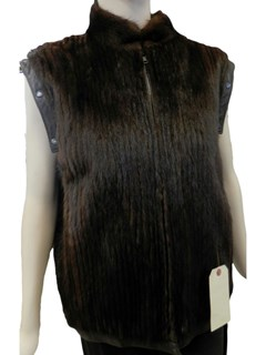 Lunaraine Corded Mink Jacket with Detachable Leather Sleeves