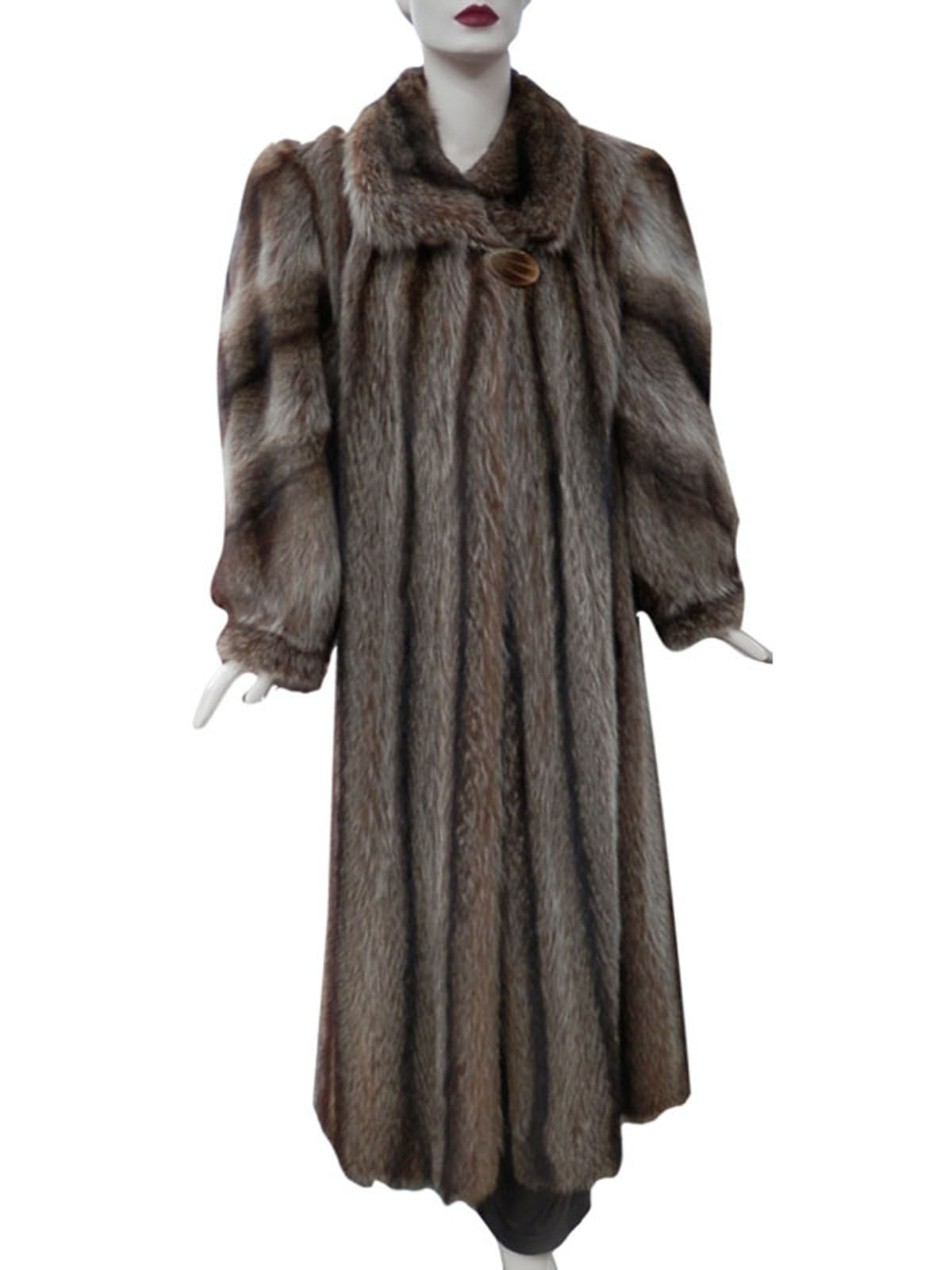 Golden Raccoon Coat with Diagonal Sleeve Design