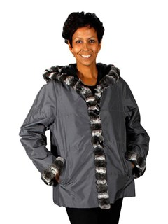 NEW Reversible Taffeta Silk Parka with Chinchilla Trim