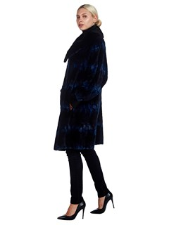 Womens Blue Dyed Sheared Mink Fur Stroller