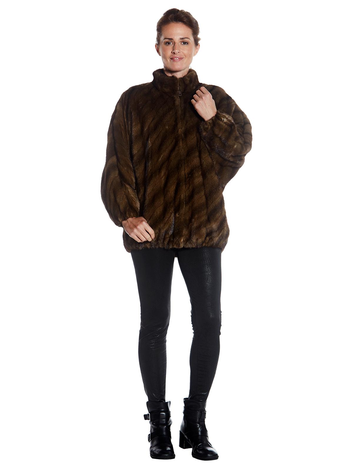 Womens Natural Lunaraine Mink Fur Zip Jacket