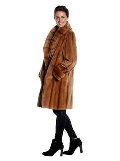 Womens Reversible Light Brown Sheared Mink Fur Coat