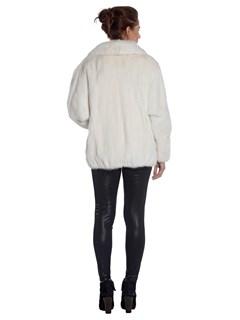 Womens Sprung Fourrures White Mink Fur Zip Jacket