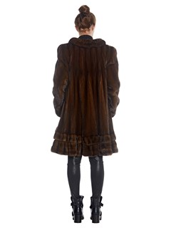 Womens Natural Mahogany Mink Fur Coat With Swing Skirt