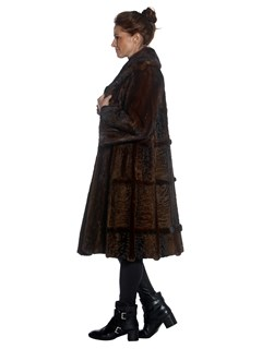 Womens Lunaraine Mink Fur Coat With Lamb Intarsia