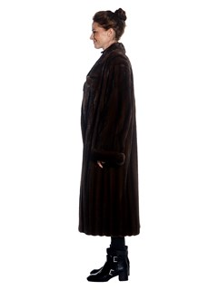 Womens Mahogany Mink Fur Full Length Coat