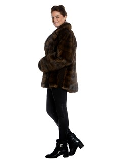 Womens Sable Fur Jacket With Wing Collar