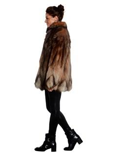 Womens Multicolored Fox Fur Jacket