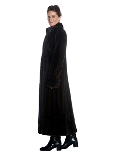 Womens Full Length Mahogany Mink Fur Coat