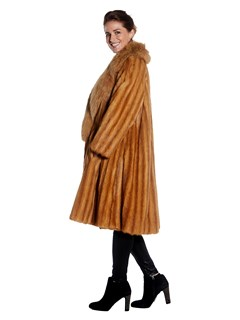 Womens Weasel Fur Coat With Dyed Fox Fur Notch Collar