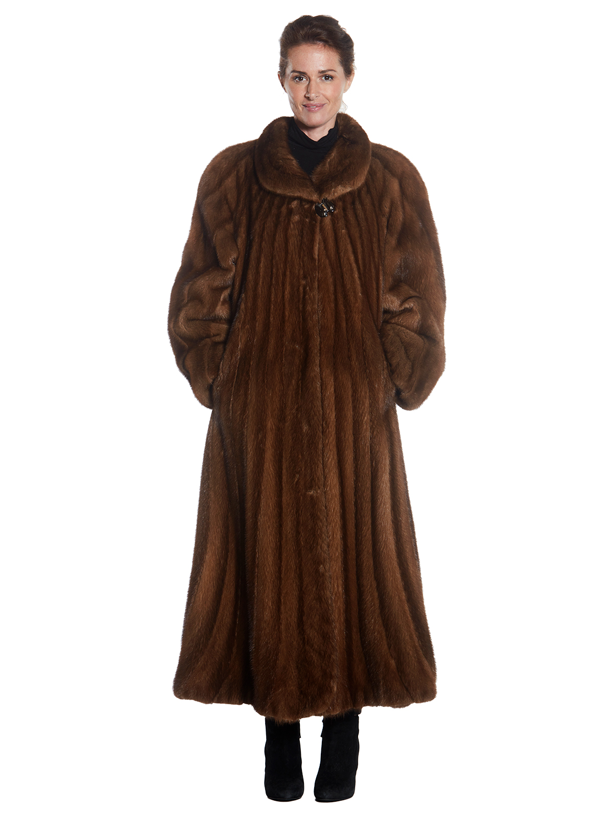 Womens Mahogany Mink Fur Coat
