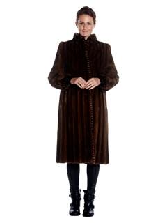 Womens Lunaraine Mink Fur Coat With Ranch Mink Fur Trim