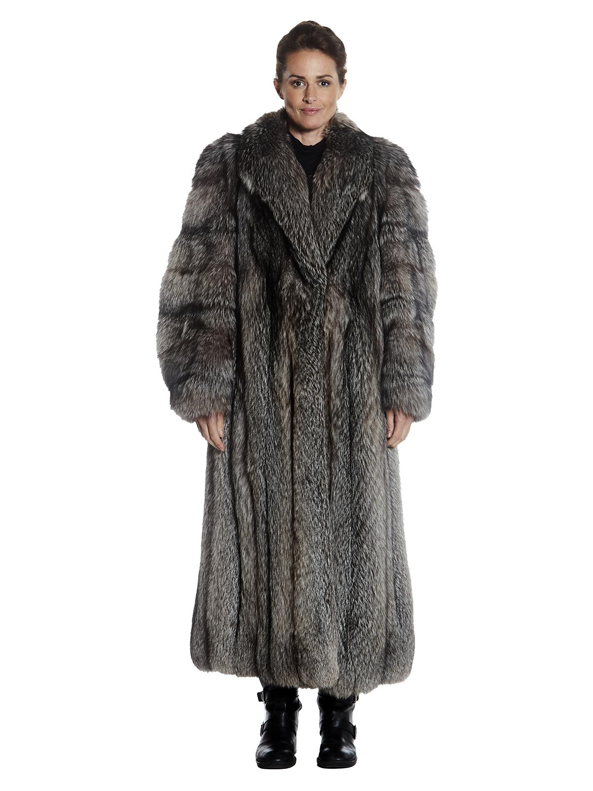 Womens Indigo Fox Fur Full Length Coat
