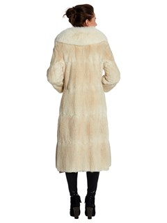 Womens Blonde Dyed Muskrat Fur Coat With Fox Fur Collar