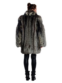 Womens Silver Fox Fur 3/4 Coat