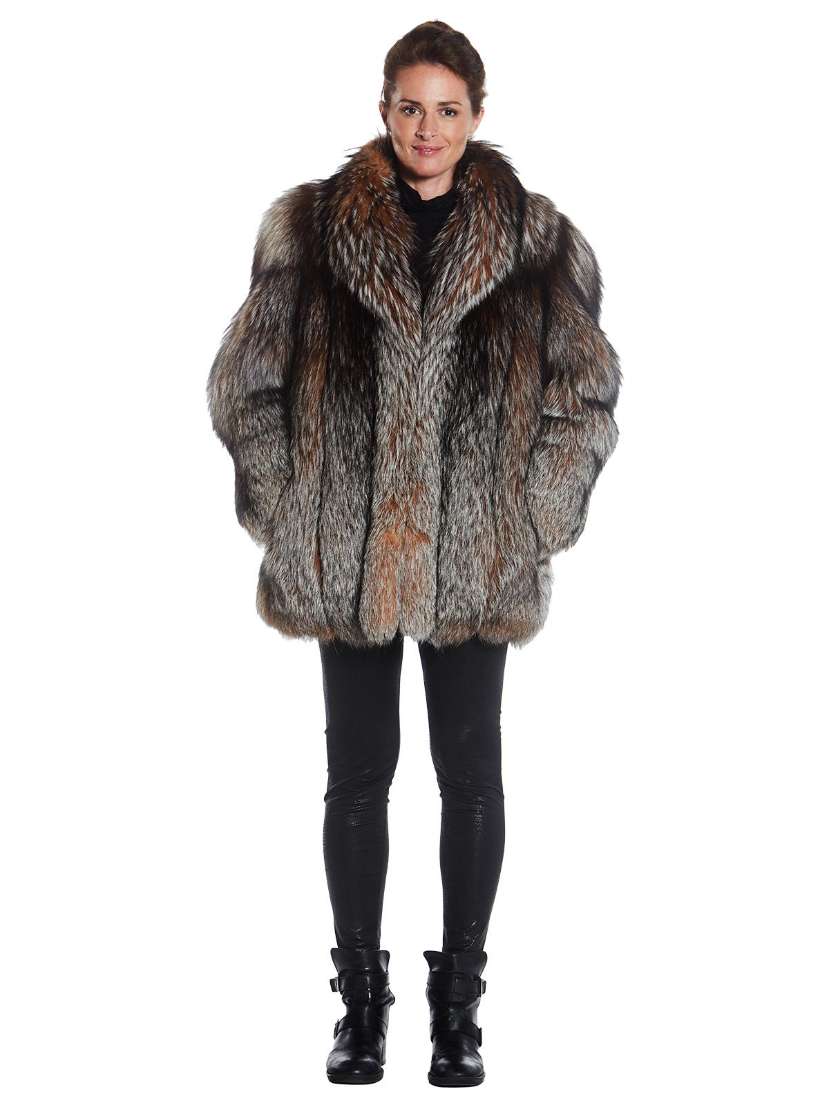 Womens Crystal Fox Fur Jacket