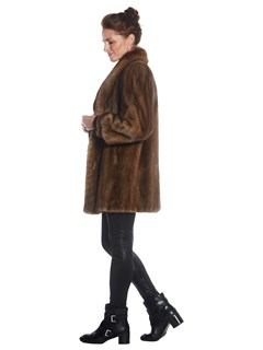 Womens Natural Lunaraine Mink Fur Jacket With Sable Fur Collar