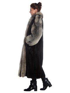 Womens Natural Ranch Mink Coat With Fox Fur Tuxedo And Trim