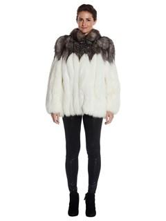 Womens White Fox Fur Jacket With Silver Fox Fur