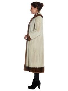 Womens Beige Dyed Mink Fur Coat With Lunaraine Mink Fur Trim