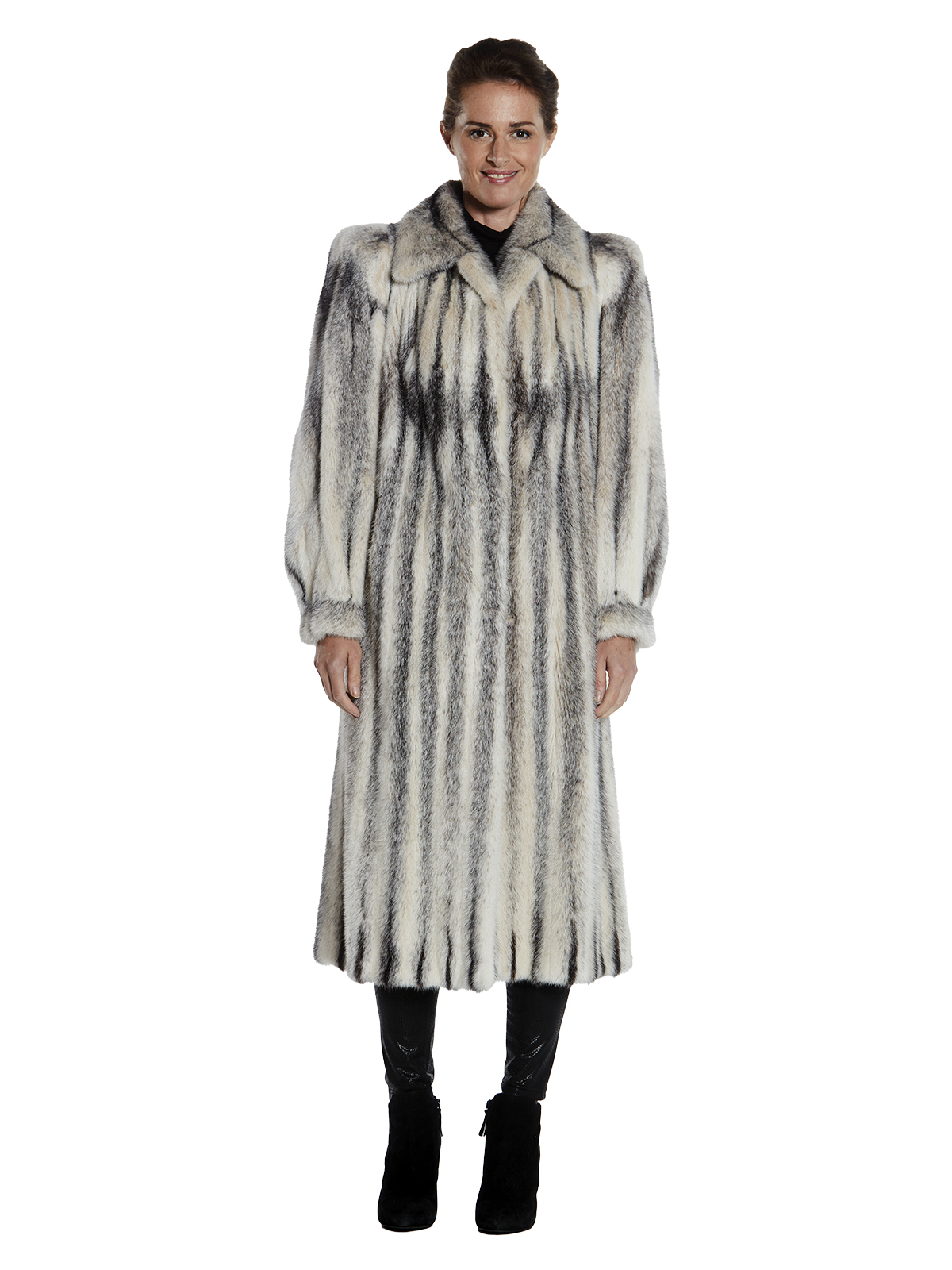 Womens Black Cross Mink Fur Coat