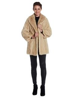 Womens Rovalia/Pearl Mink Fur 3/4 Coat