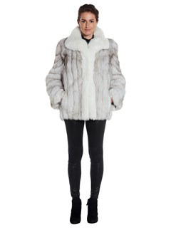 Womens Natural Blue Fox Fur Jacket