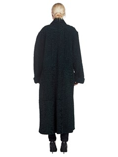 Womens Reversible Green Persian Lamb 7/8 Coat