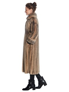 Womens Black Cross Mink Fur Coat