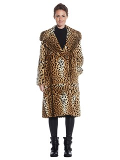 Womens Lippi Cat Fur Coat With Notch Collar