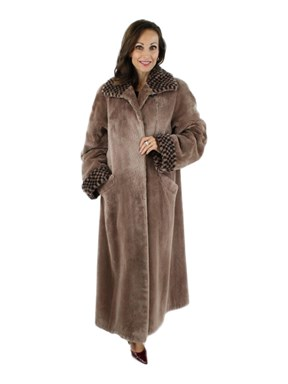 Woman's Tan Sheared Beaver Fur Coat