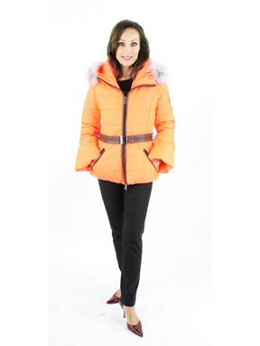 Gorski Woman's Melon Quilted Fabric Ski Parka