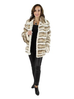 Beige knitted leather jacket with Fox Trim