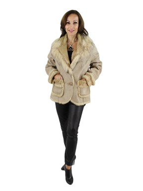 Beige Rabbit Jacket with Fox Trim