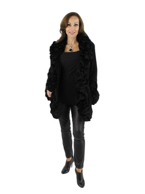 Black Knitted Rex Rabbit Jacket