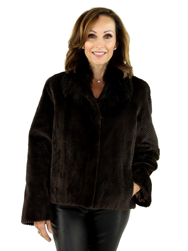 NEW Sheared Mink Fur with Chinchilla collar