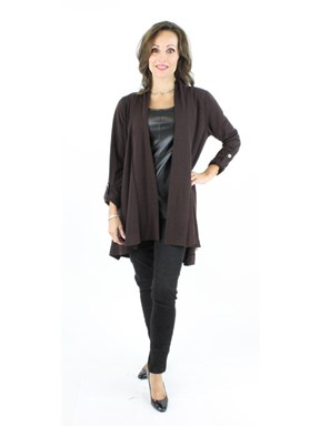 NEW Woman's Brown Fabric Cardigan