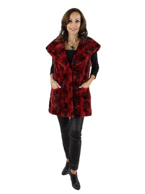 NEW Woman's Long Red Semi-sheared mink section hooded vest