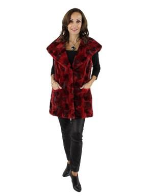 NEW Medium Red Sheared mink Fur section vest