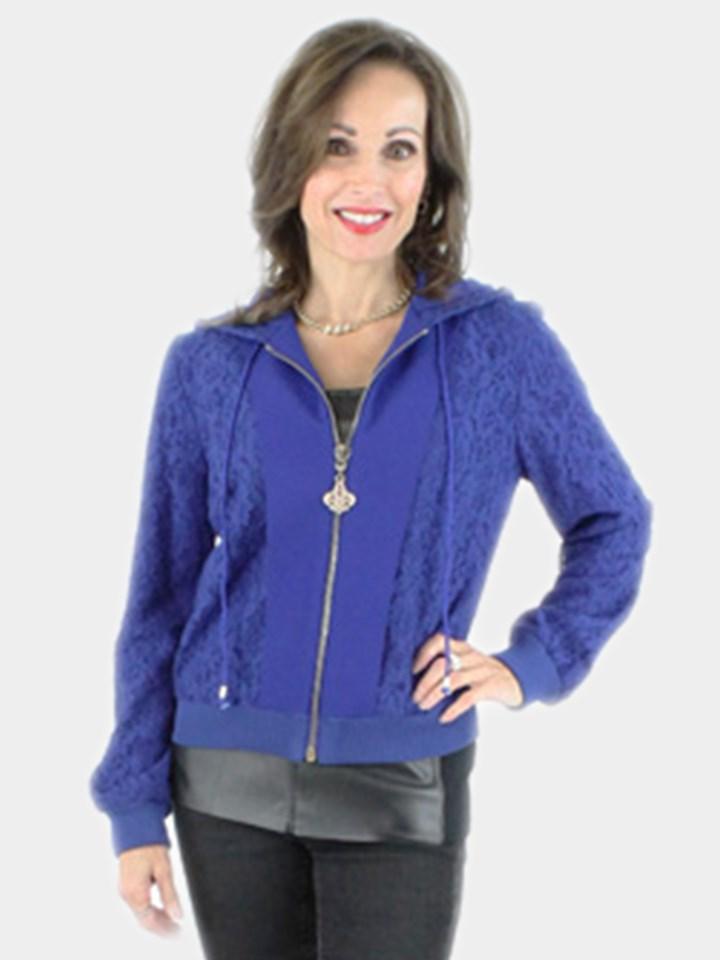 Blue Fabric Zipper Jacket
