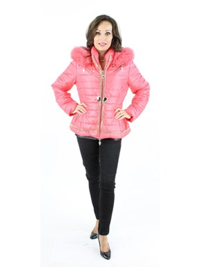 NEW Pink Ski Parka with Matching Fox Trim