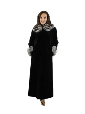 Woman's Black Sheared Mink Fur Coat with Chinchilla Collar & Cuffs