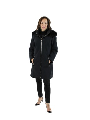 Black Microfiber Parka w/ Fox Trimmed Detachable Hood