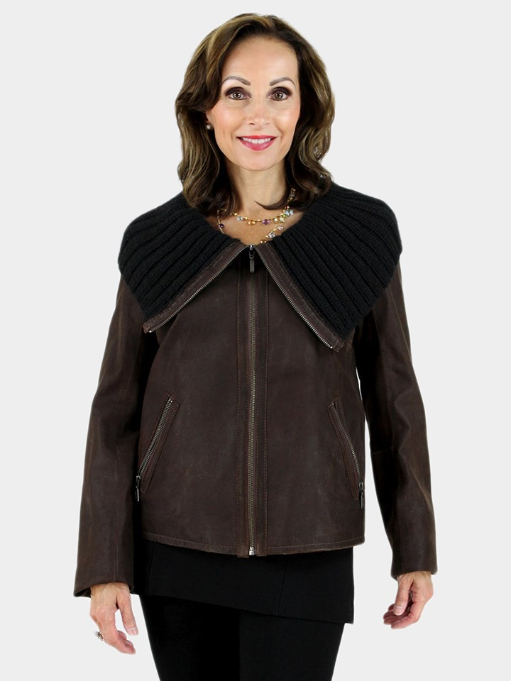 NEW Classic and Stylish Woman's Dark Chocolate Brown Leather Jacket