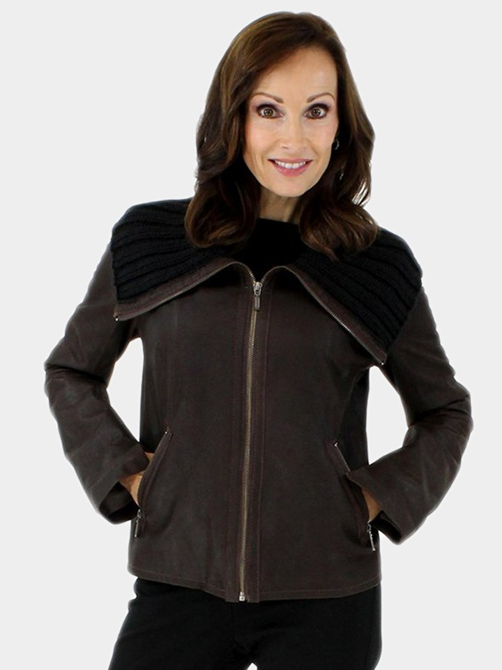 NEW Classic and Fun Petite Dark Chocolate Brown Leather Jacket