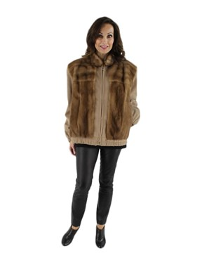 Autumn Haze Mink Jacket with Suede Sleeves