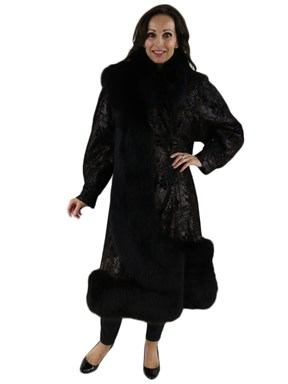 Embossed Leather Coat with Black Fox