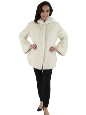 White Mink Fur Parka Female Skins