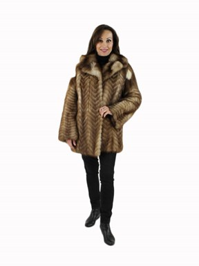 Feathered Natural Stone Martin Fur Jacket